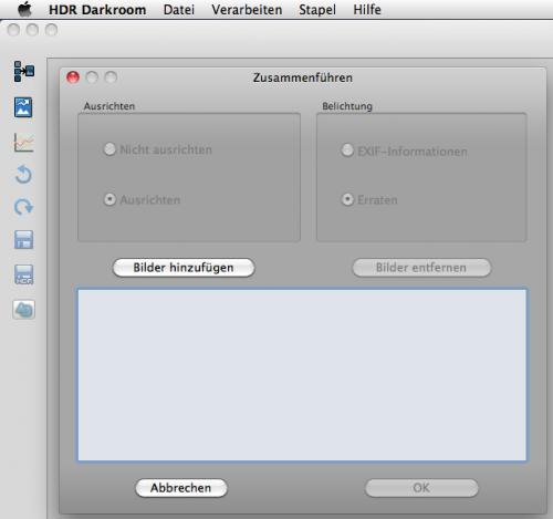 Übersichtliche Startoberfläche von HDR 4.0 Darkroom