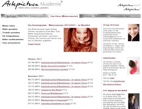 Artepictura-Akademie Webseite