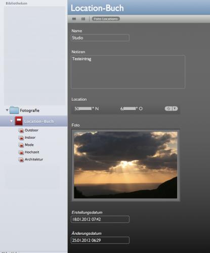 iPhone Datenbank für Fotolocations
