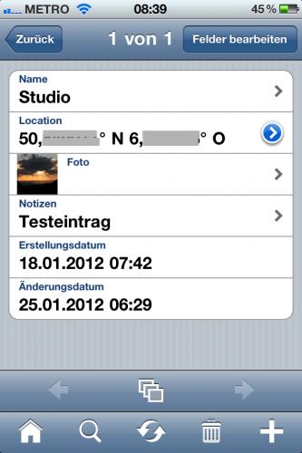 Bento iPhone - Location Buch - Screenshot 2