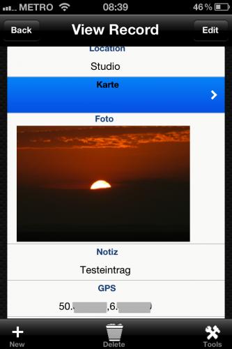 HanDBase iPhone - Location Buch - Screenshot 1