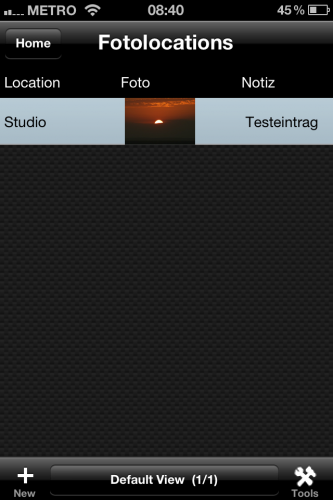 HanDBase iPhone - Location Buch - Screenshot 2