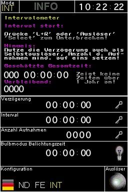ND Filter Rechner und Fernbedienung: Intervalometer - Modus