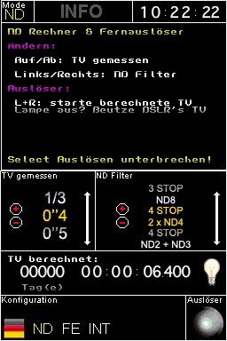 ND Filter Rechner und Fernbedienung: ND Filter - Modus