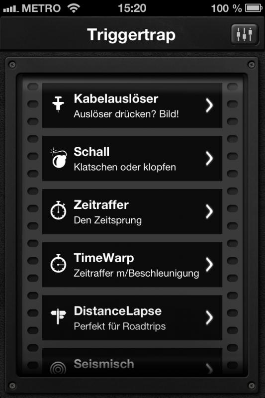 Triggertrap App (iOS) - Übersicht 1