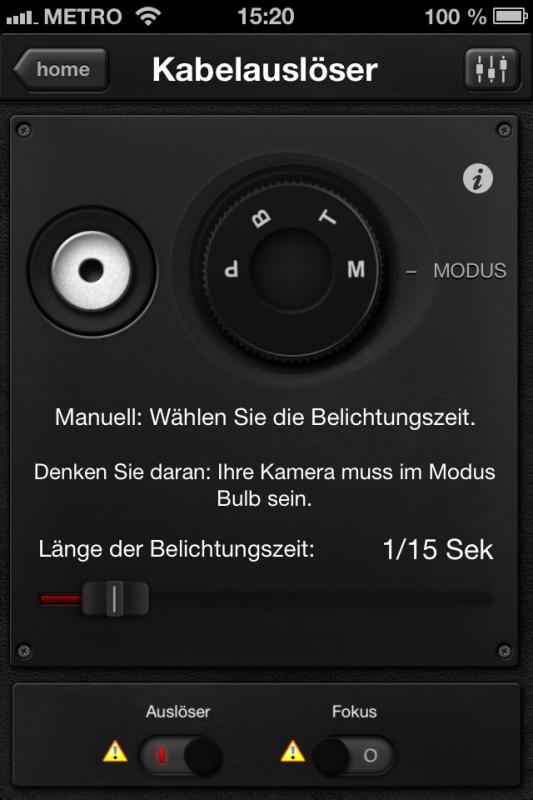 Triggertrap App (iOS) - Auslöser 1