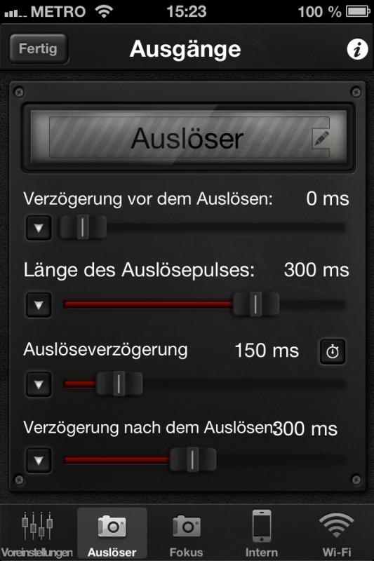 Triggertrap App (iOS) - Auslöser-Setup