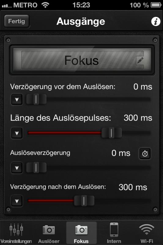 Triggertrap App (iOS) - Fokus-Setup