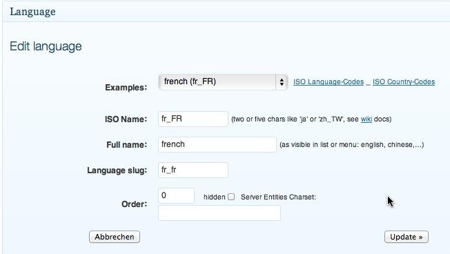 Spracheinstellung Beispiel Französisch