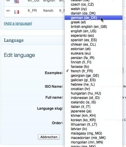 xili-language Auswahl an Sprachen