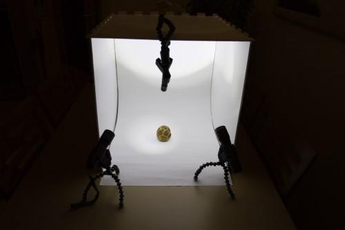 Selbstgebaute Fotografie Lichtbox aus Leichtschaumplatten