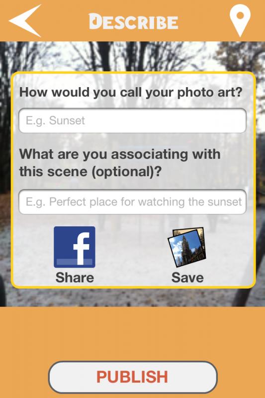 PicsAround: Foto erstellen und Beschreiben