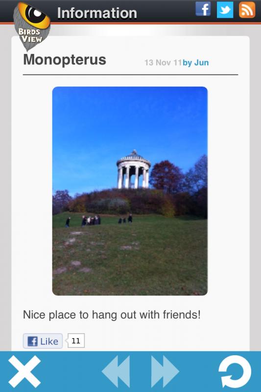 PicsAround: Foto-Detailsansicht