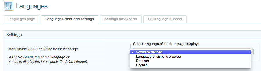 XILI-language front-end settings 01