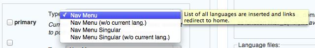 xili-language: primäres Menü Option 1