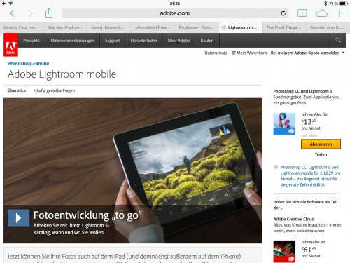 Lightroom mobile und nun?
