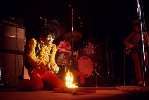 Jimi Hendrix lighting his guitar on fire on stage at Monterey International Pop Festival, Monterey, California, June, 1967 © Jim Marshall Photography LLC