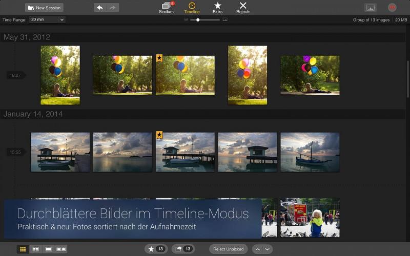 Snapselect mit der Foto-Timeline