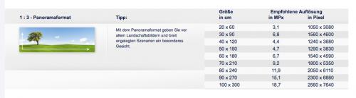 Panoramaformate auf Fotoparadies.de
