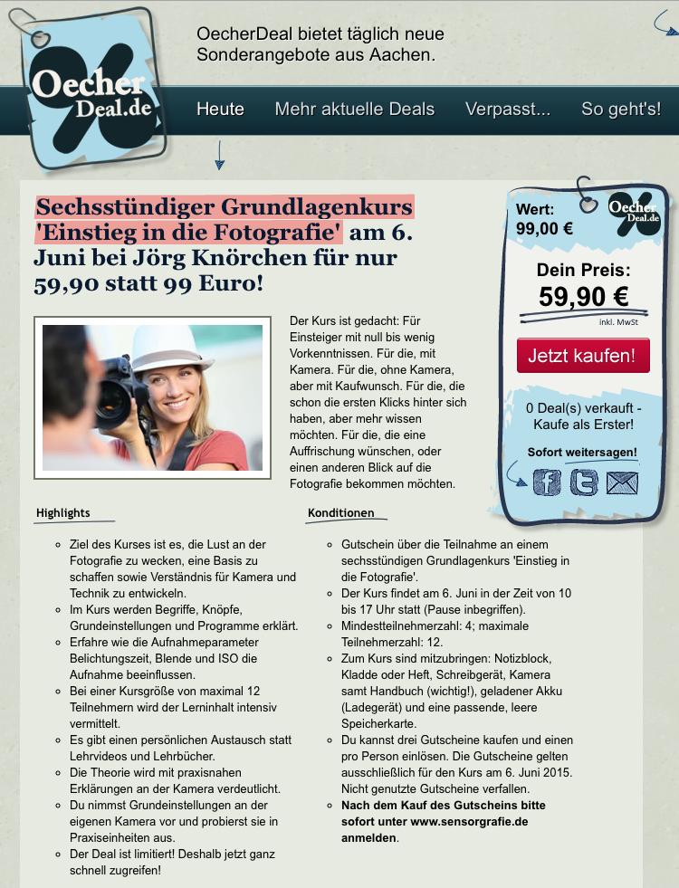 Fotografiekurs: Einstieg in die Fotografie (6. Juni 2015) auf OecherDeal.de