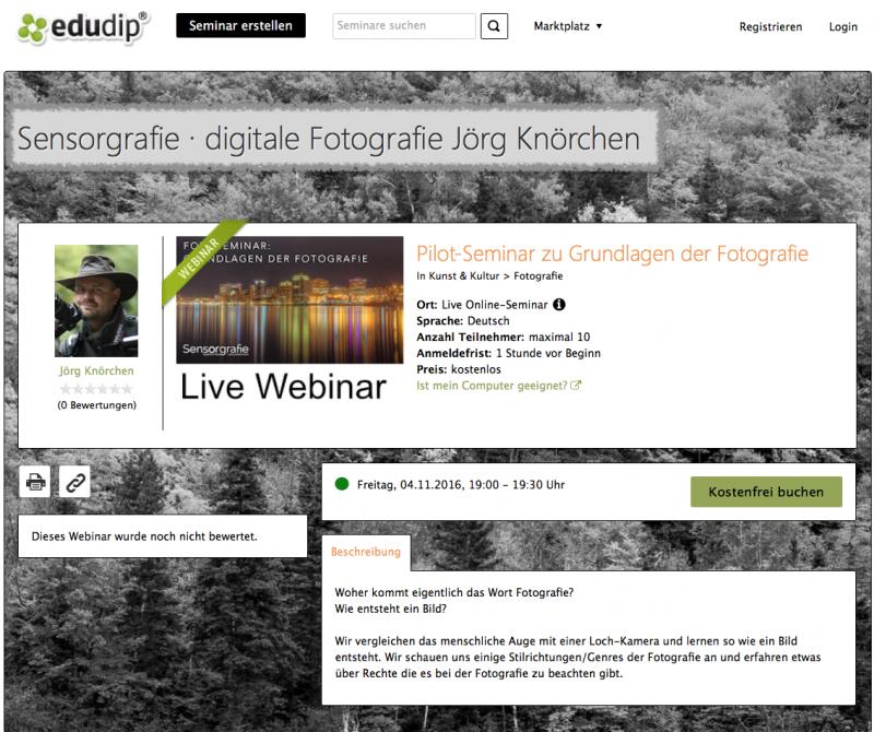 Webinar (Pilot) - Live Online Schulung - Grundlagen der Fotografie