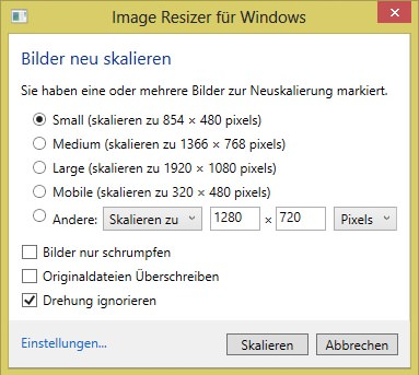 Image Resizer für Windows