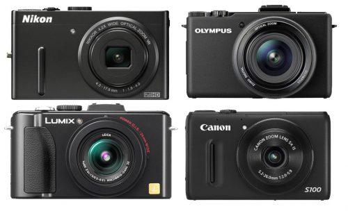 Beispiele für digitale Kompaktkameras von Nikon, Olympus, Lumix und Canon