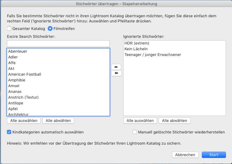 Excire Search Pro Stichworte in Lightroom übertragen