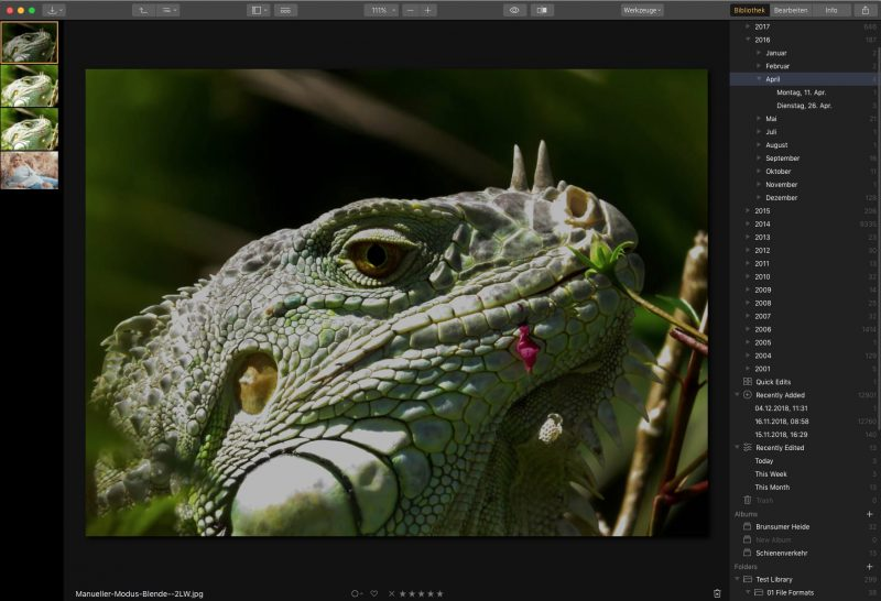 Luminar 3 Bilder in der Zeitleiste filtern
