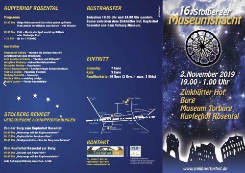 16. Stolberger Museumsnacht - Flyer - Außen