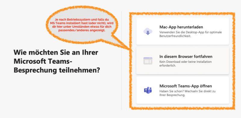 Die Teilnahme Optionen im Internetbrowser - es wird empfohlen die MS Teams App zu installieren und zu verwenden