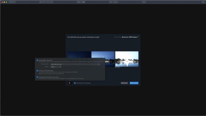 Aurora HDR - versteckte Optionen zum Zusammenfügen der Belichtungsreihe