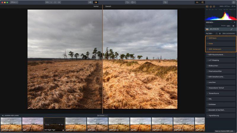 Aurora HDR Bildbearbeitung genutzte Abschnitte sind leicht zu erkennen