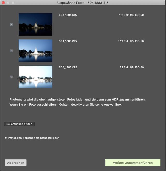 Erster Dialog nach der Bildauswahl in Photomatix - Belichtungen prüfen